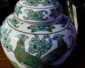 Vintage Gold Imari Japanese Hand Painted Peacock Pheasant Emerald Green Jar Urn With Lid