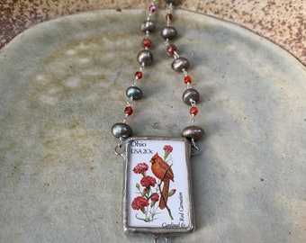 reversible Missouri state bird and flower postage stamp beaded necklace with semi-precious stones on sterling silver wire