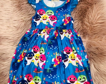 fbfbce2fa Baby shark Girls Dress Twirling Sea Animals