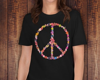 5d66ee3af951b9 Peace Sign Flowers Butterflies T-Shirt Women