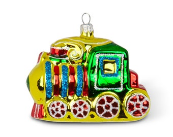 VINTAGE: Small Train Locomotive Glass Ornament Blown Figural Glass Ornament SKU 30-403-00016203 Hand Painted Mercury Ornament