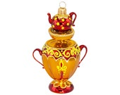 Russian Samovar - Mouth blown hand painted glass figurine - Christmas ornament