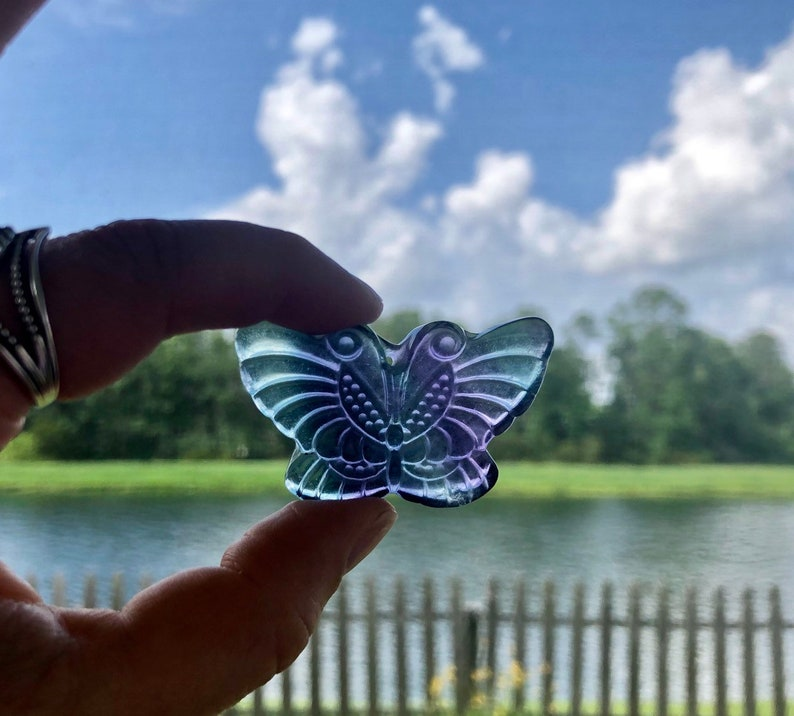 2 Flourite Butterfly Crystal Carving