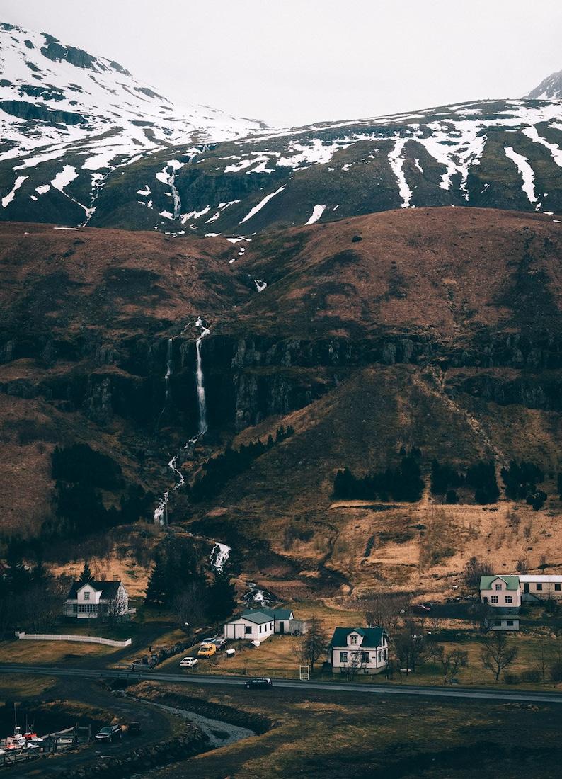 Iceland Mountain Landscape Photography Print  Seydisfjordur image 1
