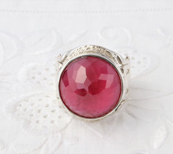 Silver Ruby Ring, Large Red Ruby Ring, Red Ring U… - image 6
