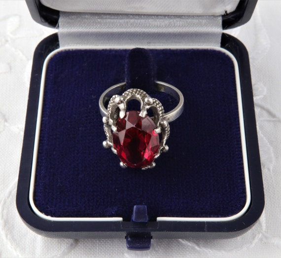 Vintage Soviet Ring with Red Ruby, 875 Silver Rin… - image 4