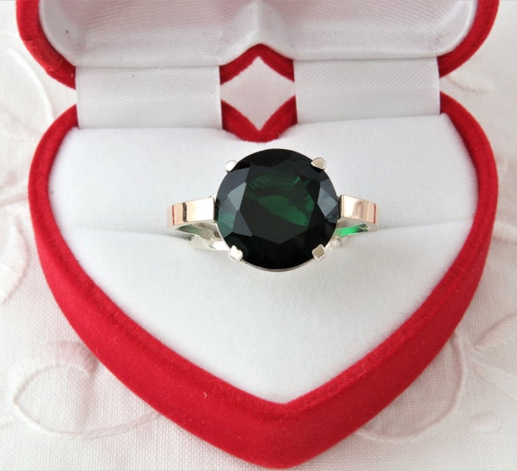 Emerald Ring, Large Ring Artificial Emerald, Silve
