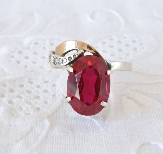 Vintage Ruby Ring, Silver Ring Red Ruby, Ring 925… - image 5