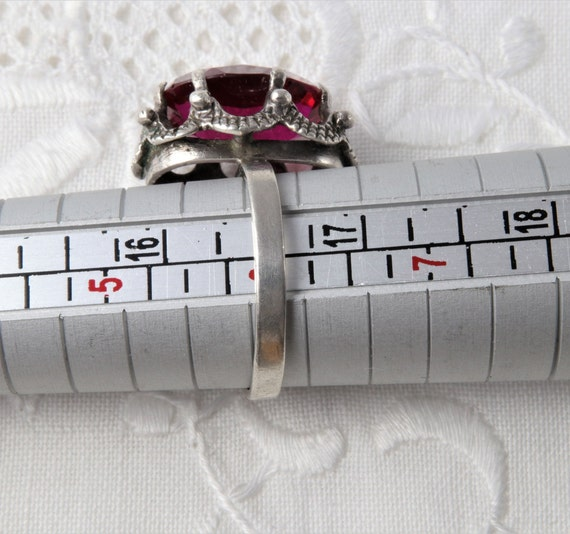 Vintage Soviet Ring with Red Ruby, 875 Silver Rin… - image 9