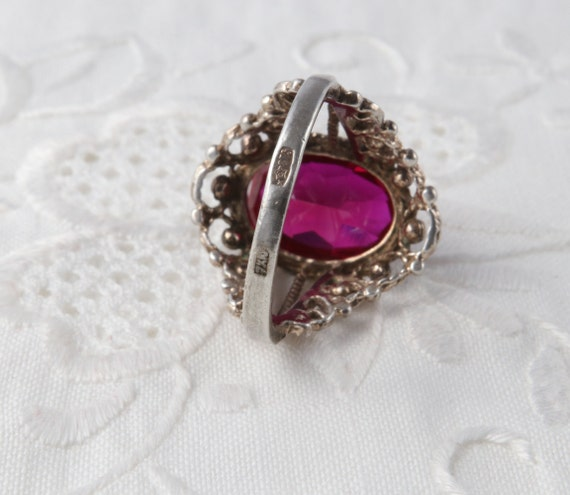 Red Ruby Ring, Silver Ruby Ring, Vintage Soviet R… - image 9