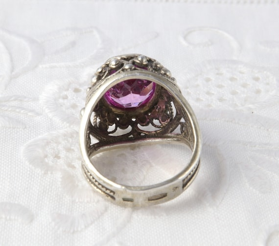 Soviet Ruby Ring, Red Ruby, 875 Silver, Gold Plat… - image 8