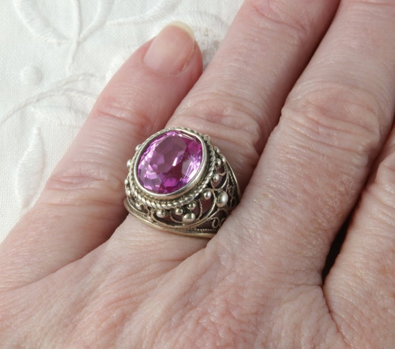 Soviet Ruby Ring, Red Ruby, 875 Silver, Gold Plat… - image 10