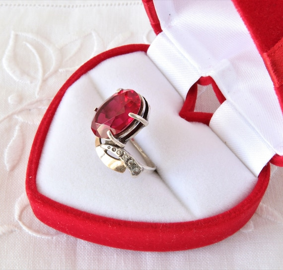 Vintage Ruby Ring, Silver Ring Red Ruby, Ring 925… - image 2