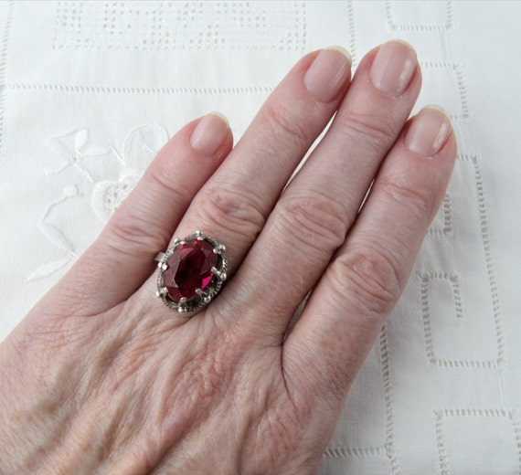 Vintage Soviet Ring with Red Ruby, 875 Silver Rin… - image 10