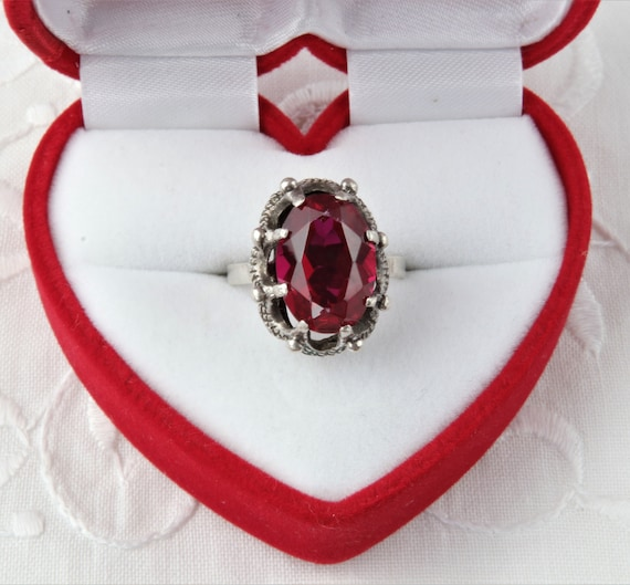 Vintage Soviet Ring with Red Ruby, 875 Silver Rin… - image 1