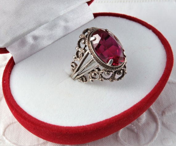 Red Ruby Ring, Silver Ruby Ring, Vintage Soviet R… - image 3
