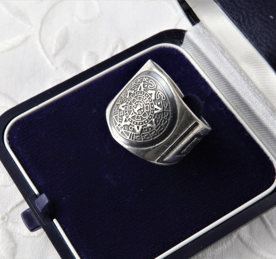 Aztec Calendar Silver Ring, Wide Ring, Oxidized Si