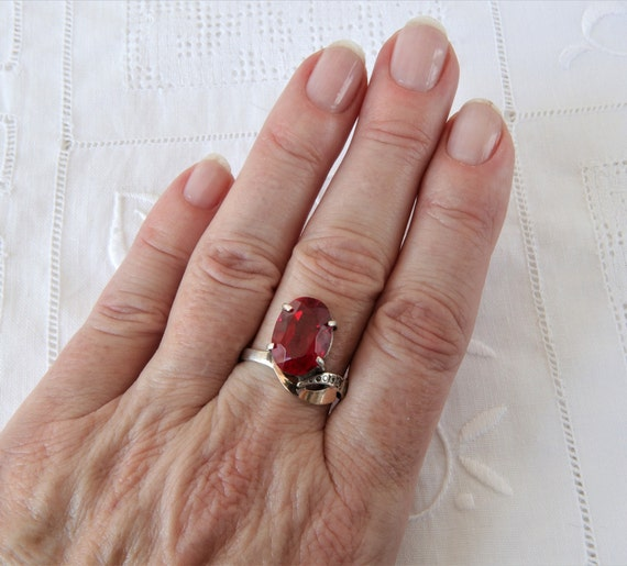 Vintage Ruby Ring, Silver Ring Red Ruby, Ring 925… - image 10