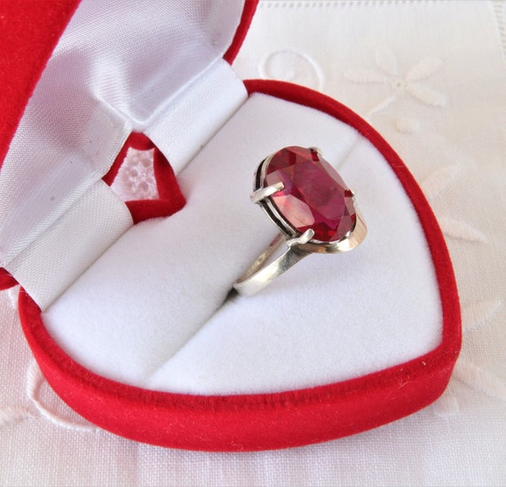 Vintage Ruby Ring, Silver Ring Red Ruby, Ring 925… - image 3
