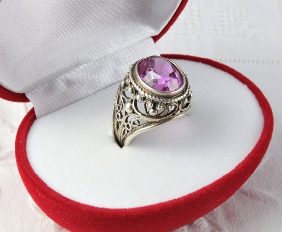 Soviet Ruby Ring, Red Ruby, 875 Silver, Gold Plat… - image 3