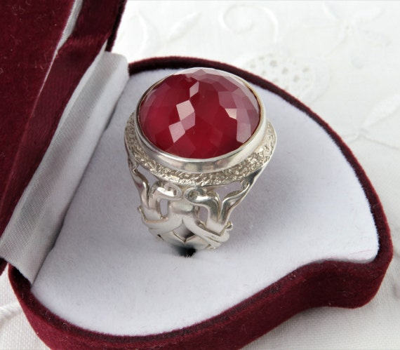 Silver Ruby Ring, Large Red Ruby Ring, Red Ring U… - image 3