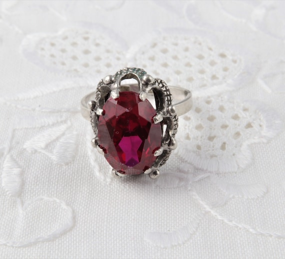 Vintage Soviet Ring with Red Ruby, 875 Silver Rin… - image 5
