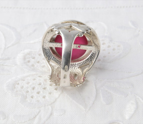 Silver Ruby Ring, Large Red Ruby Ring, Red Ring U… - image 9