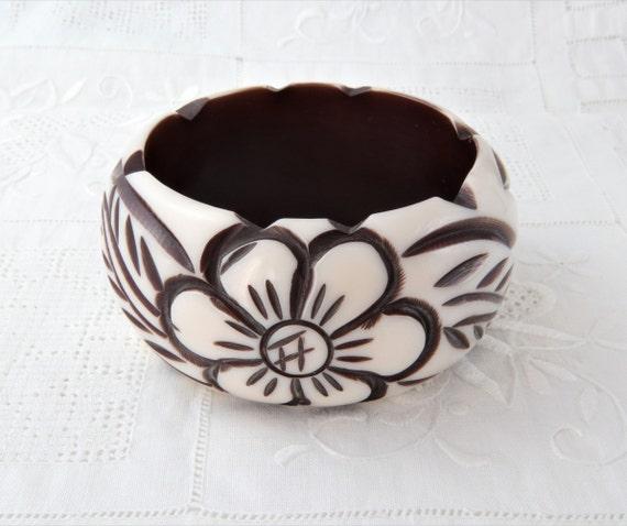 Bakelite Bracelet, White Flower Bracelet, Carved B