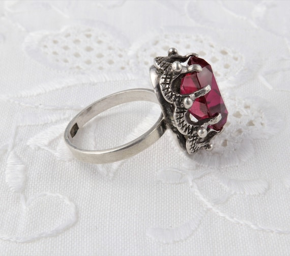 Vintage Soviet Ring with Red Ruby, 875 Silver Rin… - image 7