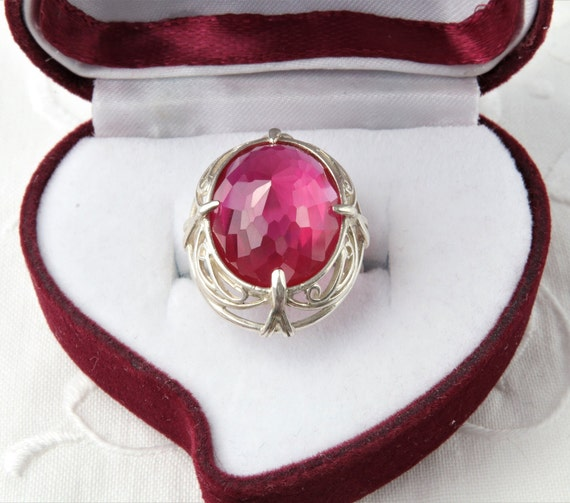 Silver Ruby Ring, Pink Ruby Ring - image 1