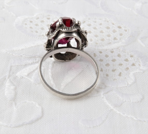 Vintage Soviet Ring with Red Ruby, 875 Silver Rin… - image 8