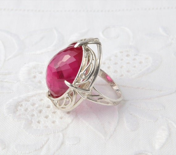 Silver Ruby Ring, Pink Ruby Ring - image 7