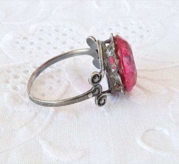 Soviet Vintage Ring, Red Ruby Ring, 875 Silver Ri… - image 7