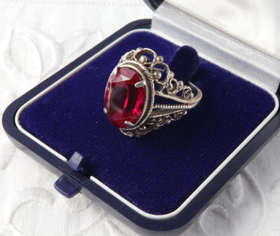 Red Ruby Ring, Silver Ruby Ring, Vintage Soviet R… - image 5