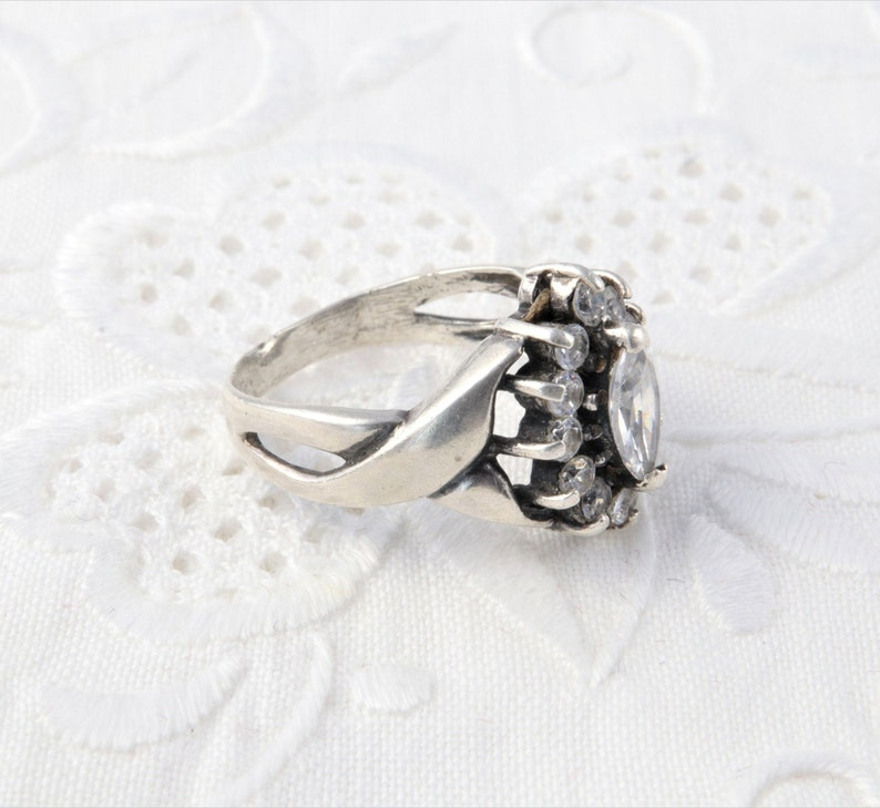 Silver Ring with Cubic Zirconia Ring Malinka