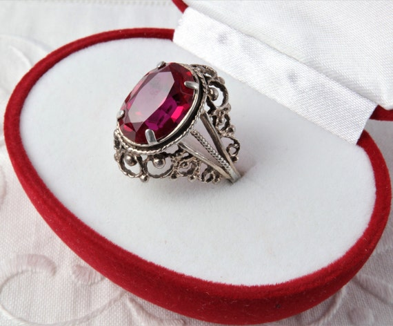 Red Ruby Ring, Silver Ruby Ring, Vintage Soviet R… - image 2