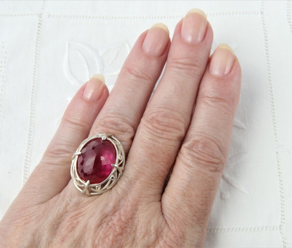 Silver Ruby Ring, Pink Ruby Ring - image 10