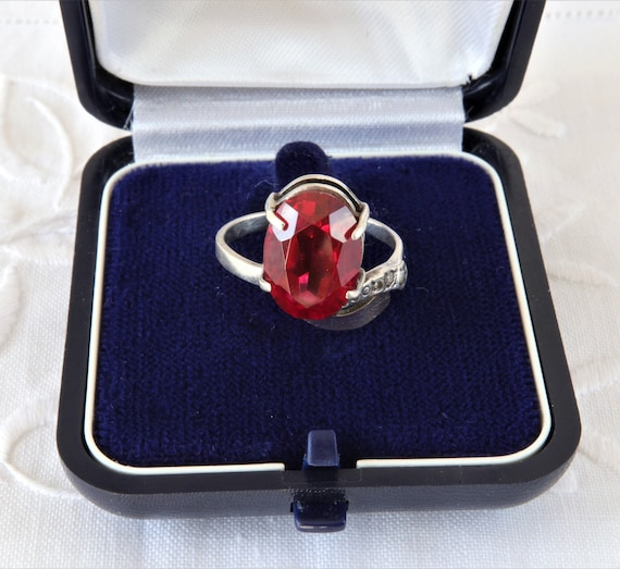 Vintage Ruby Ring, Silver Ring Red Ruby, Ring 925… - image 4