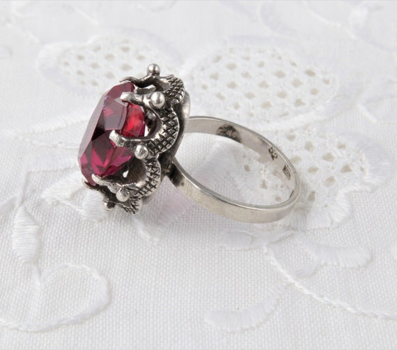 Vintage Soviet Ring with Red Ruby, 875 Silver Rin… - image 6