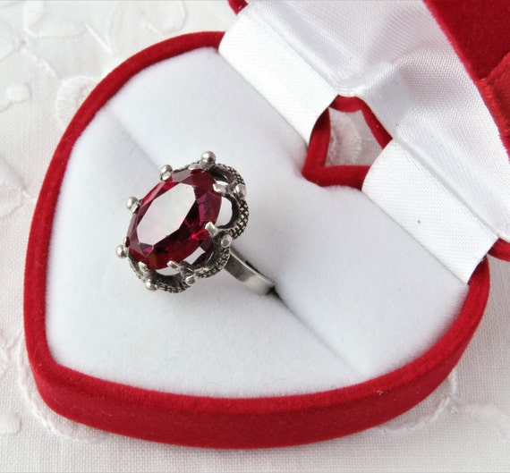 Vintage Soviet Ring with Red Ruby, 875 Silver Rin… - image 2