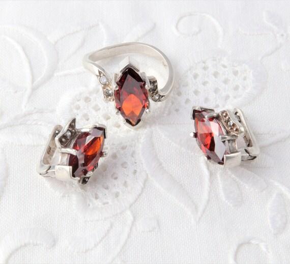 Garnet Ring, Garnet Earrings, Silver Set of Garnet