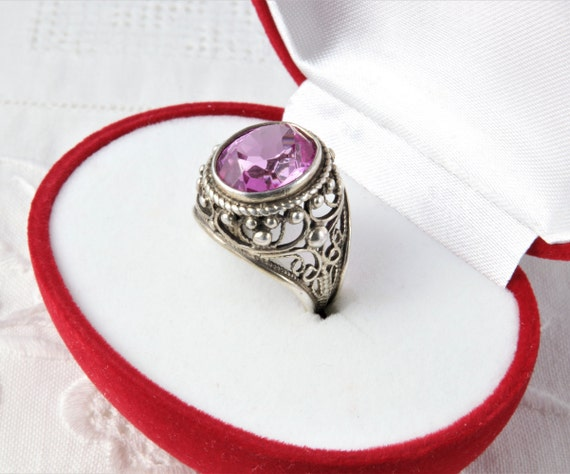 Soviet Ruby Ring, Red Ruby, 875 Silver, Gold Plat… - image 2