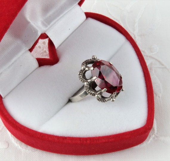 Vintage Soviet Ring with Red Ruby, 875 Silver Rin… - image 3