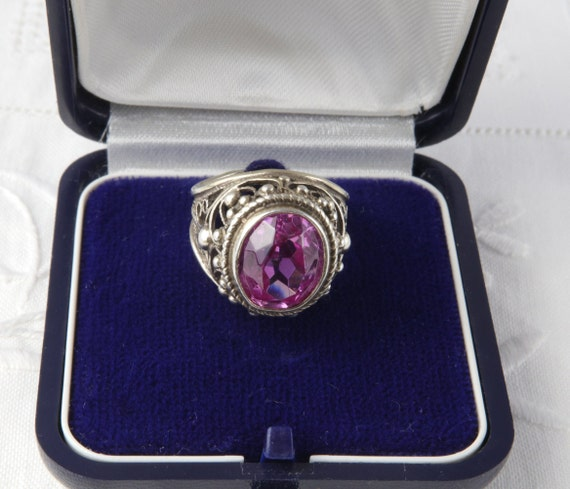 Soviet Ruby Ring, Red Ruby, 875 Silver, Gold Plat… - image 4