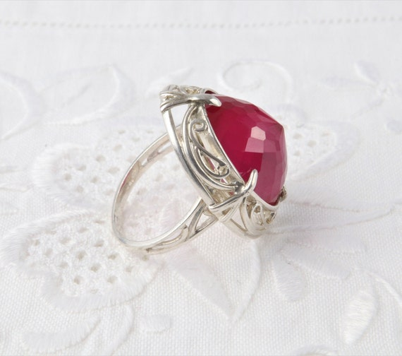 Silver Ruby Ring, Pink Ruby Ring - image 8