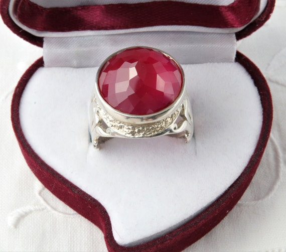 Silver Ruby Ring, Large Red Ruby Ring, Red Ring U… - image 1