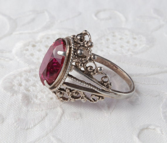 Red Ruby Ring, Silver Ruby Ring, Vintage Soviet R… - image 6
