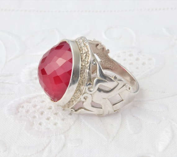 Silver Ruby Ring, Large Red Ruby Ring, Red Ring U… - image 7