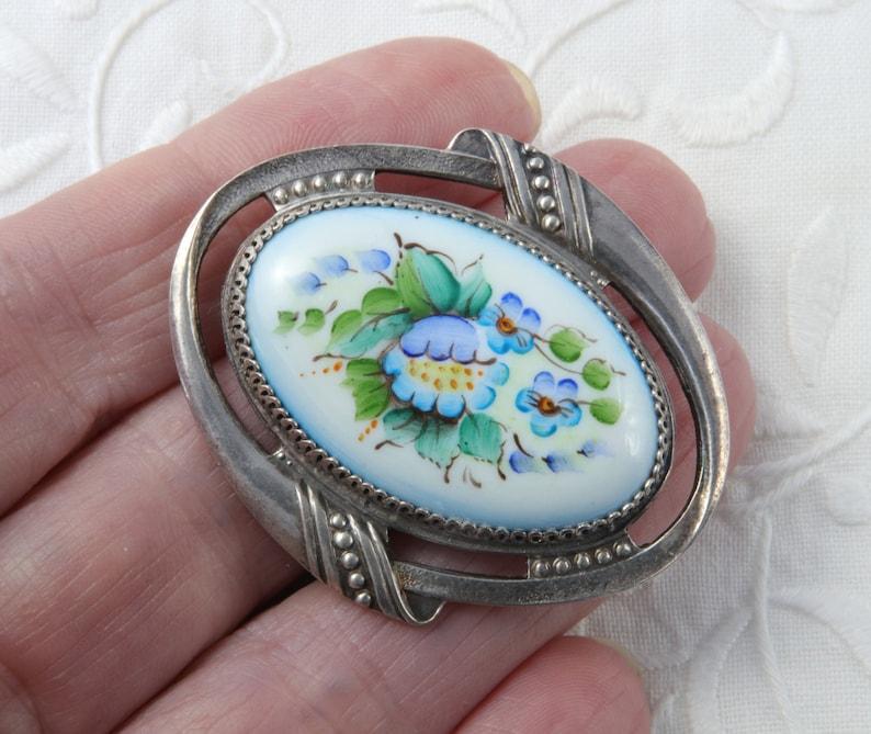 Vintage Soviet Brooch Flower Enamel Brooch Russian Brooch with Enamel Hand Painted