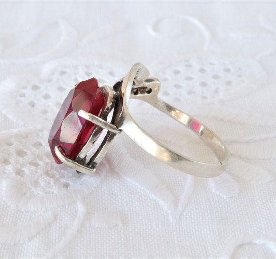 Vintage Ruby Ring, Silver Ring Red Ruby, Ring 925… - image 6